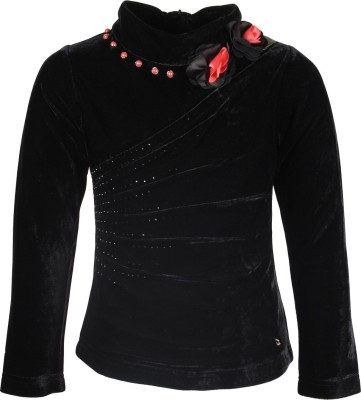 Cutecumber Party Full Sleeve Solid Girl's Black Top