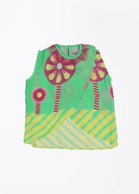 Masaba for Magic Fairy Casual Sleeveless Printed Girl,s Green Top
