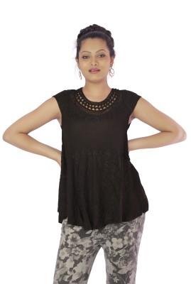 Shop Rajasthan Casual, Lounge Wear Short Sleeve Self Design Women's Black Top