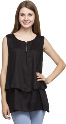 London Off Casual Sleeveless Solid Women's Black Top