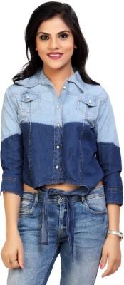 Carrel Casual 3/4 Sleeve Solid Women's Light Blue, Blue Top