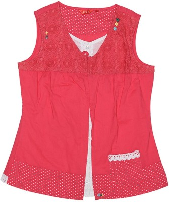 Elle Casual Sleeveless Solid Girl's Pink Top