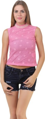 Lili Blank Casual Sleeveless Solid Women's Pink Top