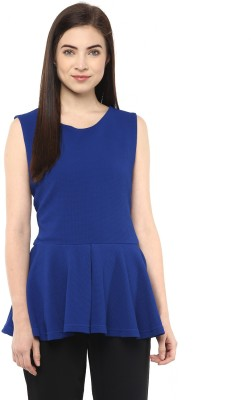 Moderno Party Sleeveless Solid Women's Blue Top