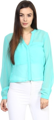 Rare Casual Full Sleeve Solid Women,s Light Blue Top