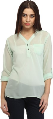 Cation Casual Roll-up Sleeve Solid Women's Green Top at flipkart