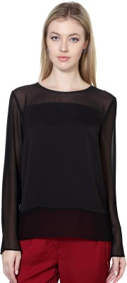 Van Heusen Casual Full Sleeve Solid Women's Black Top