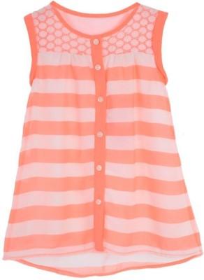 Joy N Fun Casual Sleeveless Striped Girl's Orange, White Top