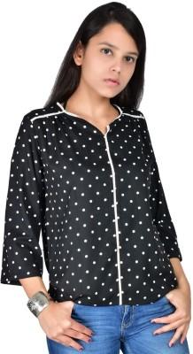 Palette Casual 3/4 Sleeve Printed Women's Black Top