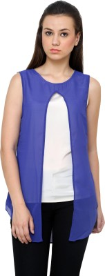 Jake Chiramel Casual Sleeveless Solid Women's Blue Top