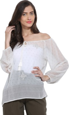 Ama Bella Casual Full Sleeve Printed Women's White Top