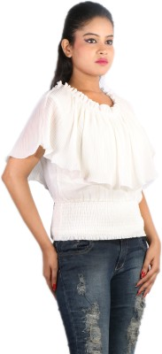 Showoff Casual Short Sleeve Solid Women's White Top