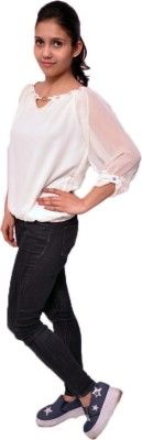 bliss creations Casual, Party 3/4 Sleeve Embellished Women's White Top