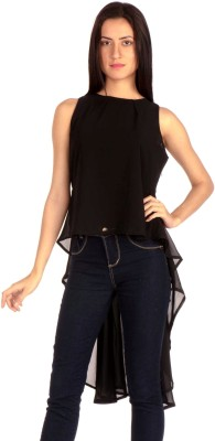MIST ISLAND Casual Sleeveless Solid Women's Black Top