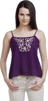 ORIANNE Casual Noodle strap Solid Women's Purple Top