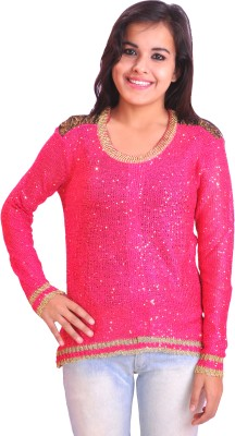Krazzy Collection Casual Full Sleeve Self Design Women's Pink Top