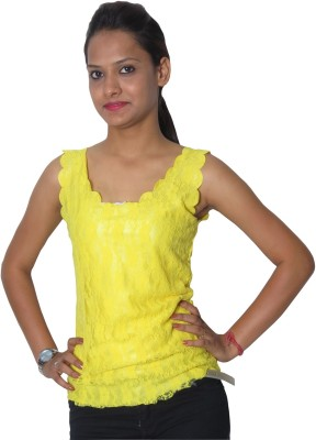 Modo Vivendi Casual Sleeveless Solid Women's Yellow Top