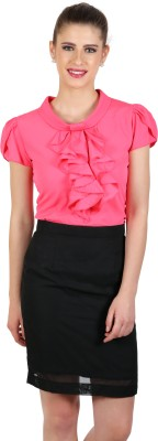eyelet Casual, Party, Lounge Wear Balloon Sleeve Solid Women's Pink Top