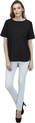 Pab Jules Casual Short Sleeve Solid Women's Black Top