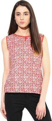 JaipurKurti Casual Sleeveless Geometric Print Women's Orange Top