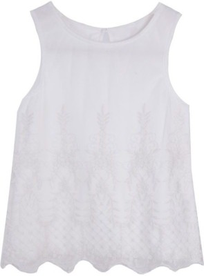 Joy N Fun Casual Sleeveless Embroidered Girl's White Top