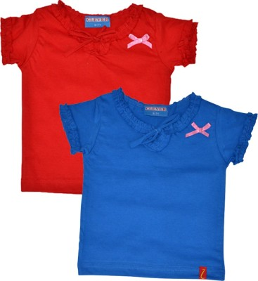 Clever Casual Short Sleeve Solid Baby Girls Red, Blue Top
