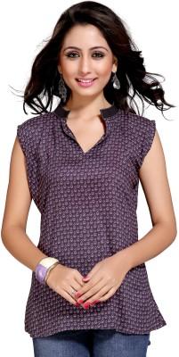 Niriksha Casual Sleeveless Printed Women's Black Top