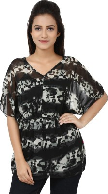 Tops and Tunics Casual Short Sleeve Printed Women's Black, White Top