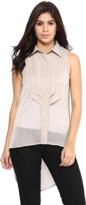 Magnetic Designs Casual Sleeveless Solid Women's Grey Top