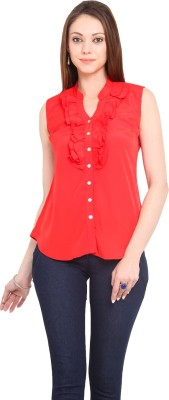 La Arista Casual Sleeveless Solid Women's Red Top