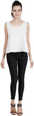 Pret a Porter Casual Sleeveless Embroidered Women's White Top