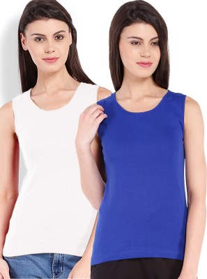 Beyouty Casual Sleeveless Solid Women's Blue, White Top