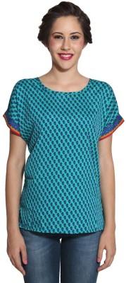 Prakum Casual Roll-up Sleeve Printed Women,s Green, Blue Top