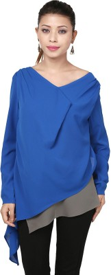Threesome Casual Full Sleeve Solid Women's Blue Top