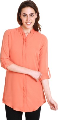 SOIE Casual Roll-up Sleeve Solid Women's Pink Top