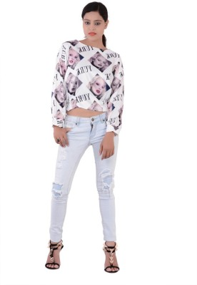 Fashnopolism Casual 3/4 Sleeve Self Design Women's White Top