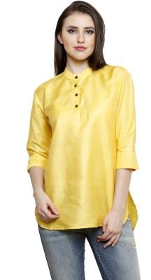 Dhrohar Casual 3/4 Sleeve Woven Women,s Yellow Top