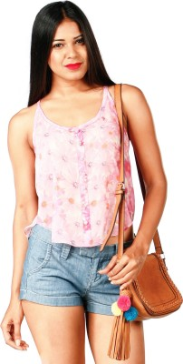 RovingMode Casual Sleeveless Floral Print Women's Pink Top