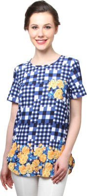 Moderno Casual Short Sleeve Printed Women's Blue Top