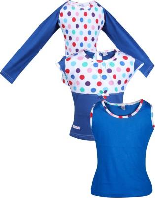 Gkidz Casual Full Sleeve Polka Print Girl's Dark Blue Top
