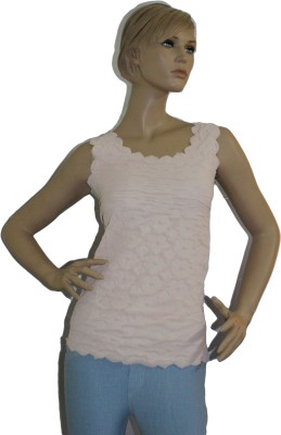 SayAlo Casual Sleeveless Solid Women's Pink Top