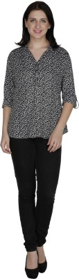 French Creations Casual Roll-up Sleeve Printed Women's Black Top