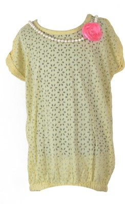 MARSHMALLOW Casual Short Sleeve Solid Girl's Yellow Top