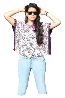 SASURAL Casual, Party Short Sleeve Self Design Women's Pink, Black, White Top
