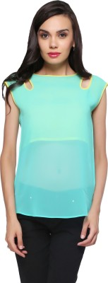 Delfe Casual Sleeveless Solid Women's Green Top