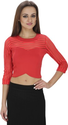 Svt Ada Collections Party 3/4 Sleeve Solid Women's Red Top
