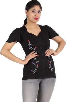 Harsha Casual Short Sleeve Floral Print Women's Black Top