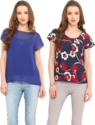 Pryma Donna Casual Short Sleeve Solid, Printed Women's Blue, Yellow, Maroon Top