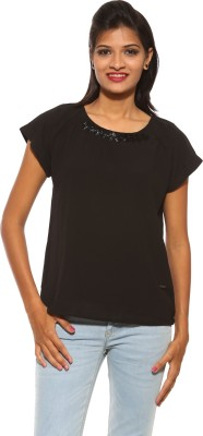 Pepe Casual Sleeveless Solid Women's Black Top