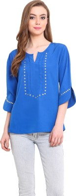 Femenino Casual 3/4 Sleeve Solid Women's Blue Top